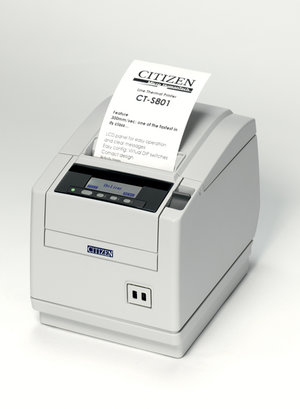 Citizen CT-S801, Ethernet, Wi-Fi, 8 dots/mm (203 dpi), cutter, display, white